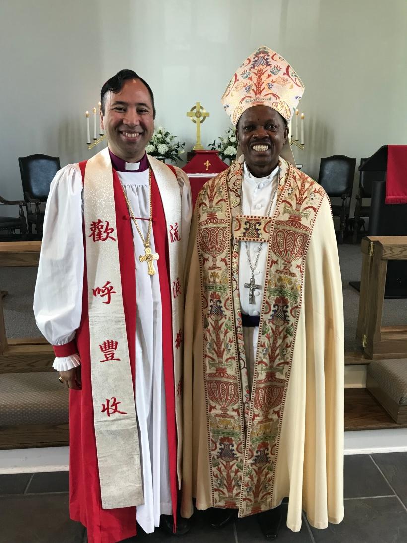 Bishop Lumanog with Bishop Michael Hafidh
